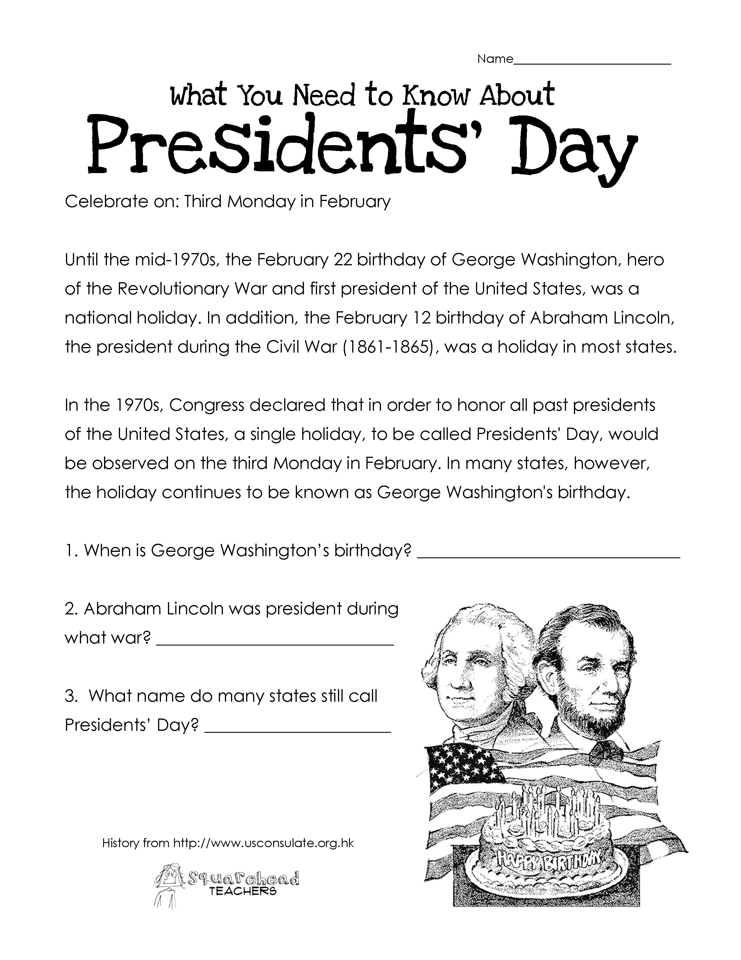 Presidents' Day (Free Worksheet) Updated | Squarehead Teachers - Free Printable President Worksheets