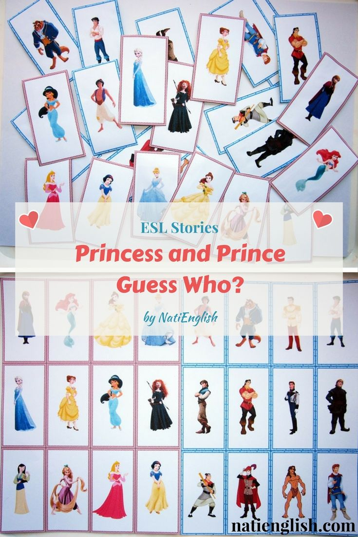 Princess And Prince Guess Who? Game Cards Free Printables | Esl - Free Printable Disney Stories