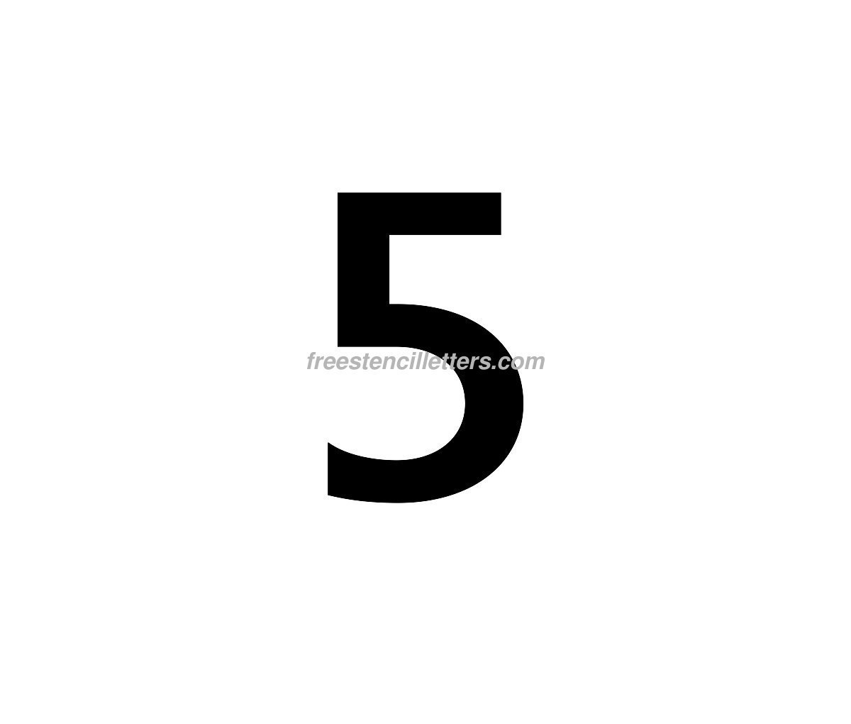 Print Number 5 Letter Stencil - Free Stencil Letters - Free Printable 5 Inch Number Stencils