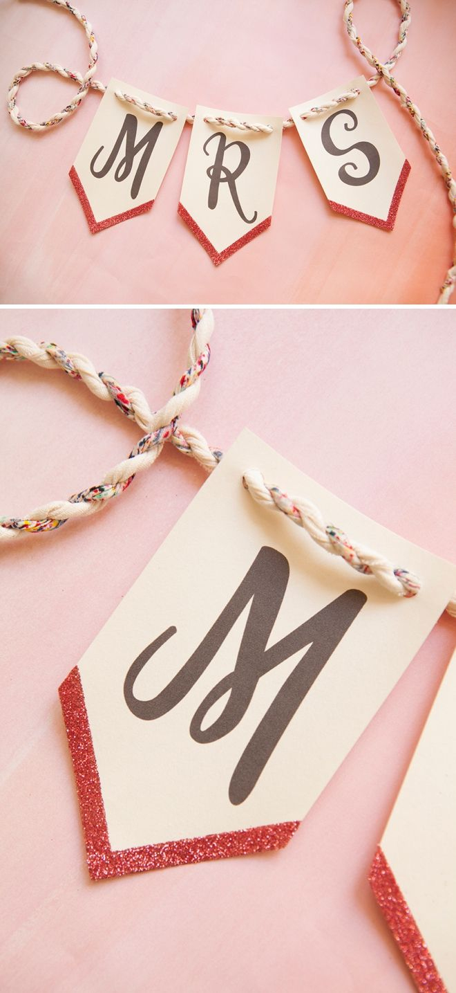 Print This Banner For Free And Then Add Glitter To It! | Diy Wedding - Free Printable Miss To Mrs Banner