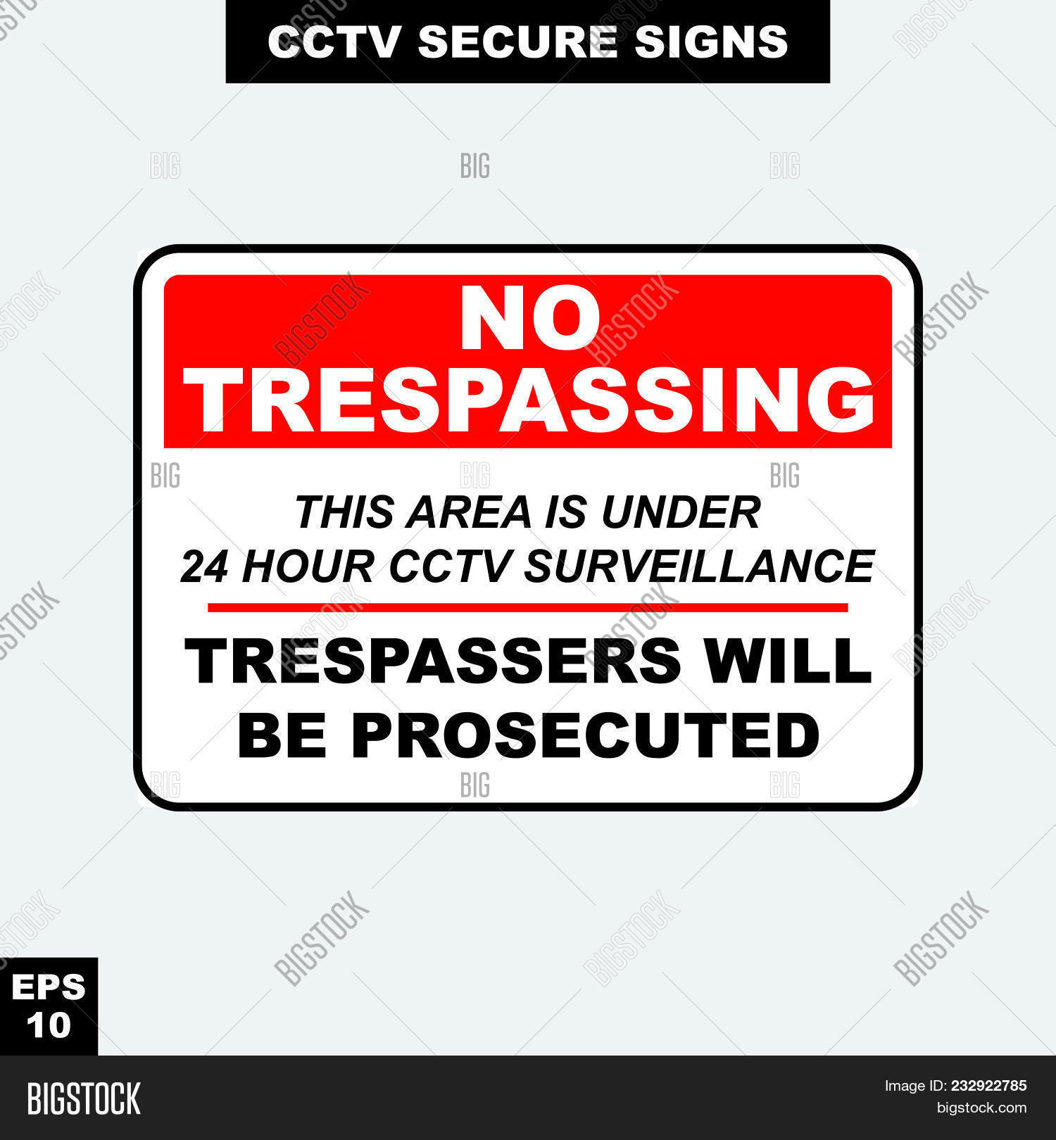Print Vector & Photo (Free Trial) | Bigstock - Printable Video Surveillance Signs Free