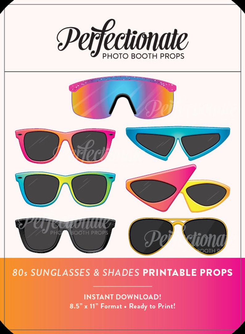 Printable 80S Sunglasses Photo Booth Prop Printable 80S Props | Etsy - 80S Photo Booth Props Printable Free