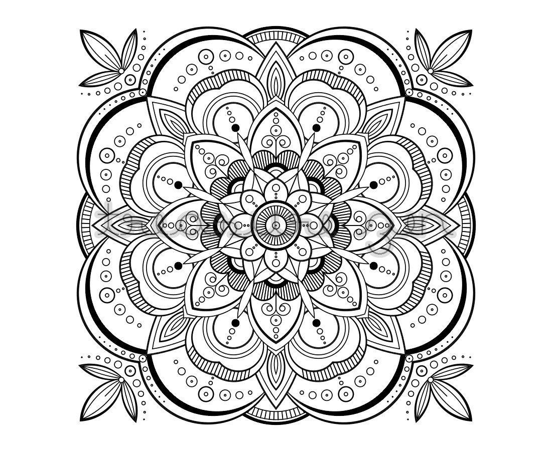 Printable Adult Coloring Book Page, Pdf Mandala Coloring Book Page - Free Printable Mandalas Pdf