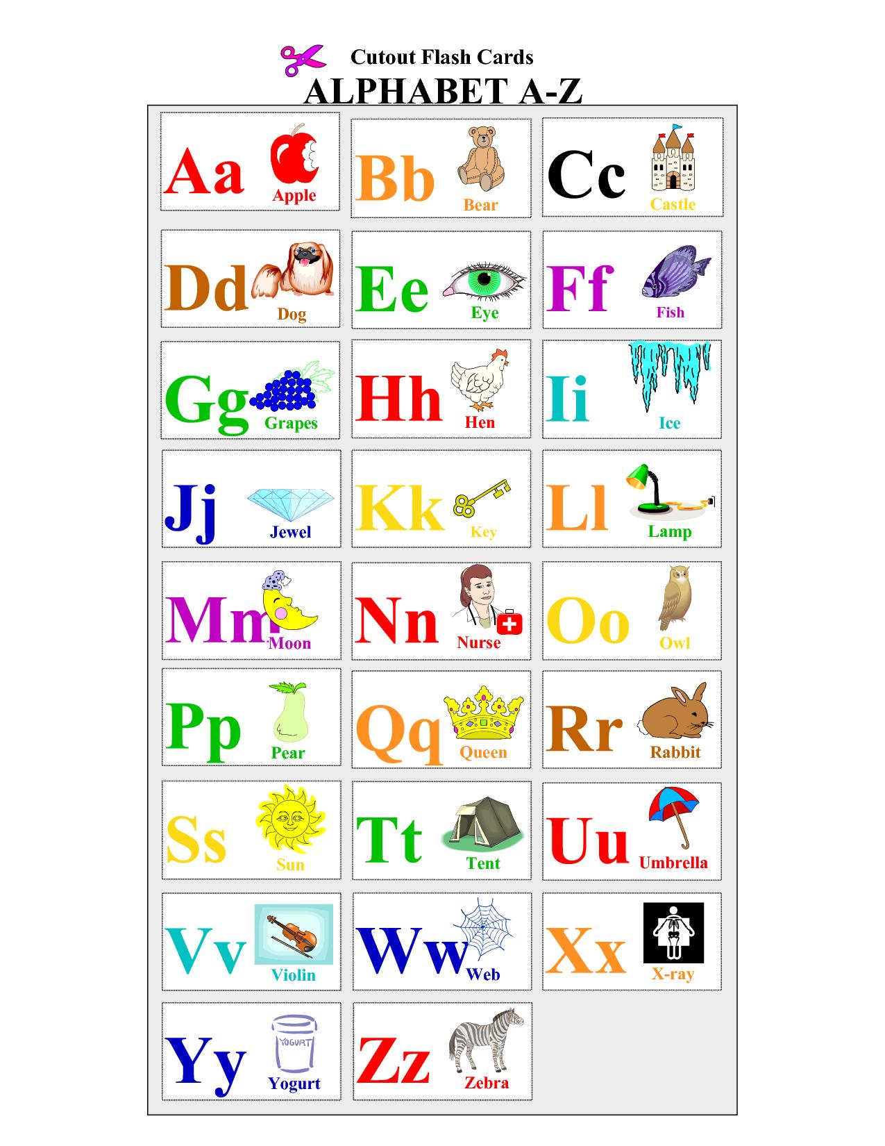 Printable Alphabet | Printable Alphabet Cards Educational Flash - Free Printable Alphabet Cards With Pictures