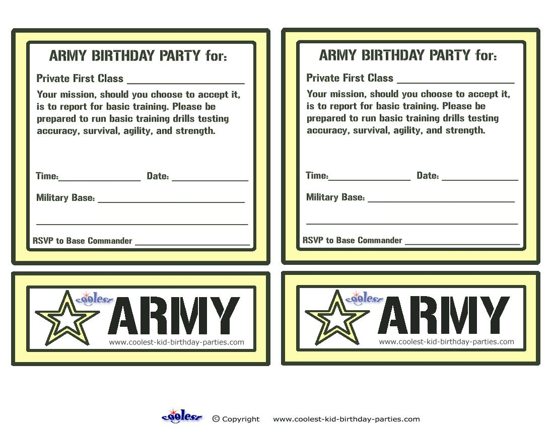 Printable Army Invitations - Coolest Free Printables | For Rhett - Free Printable Camouflage Invitations