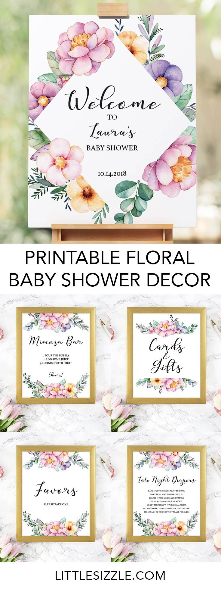 Printable Baby Shower Floral Decorations   Baby Showers & Gender - Free Printable Baby Shower Table Signs
