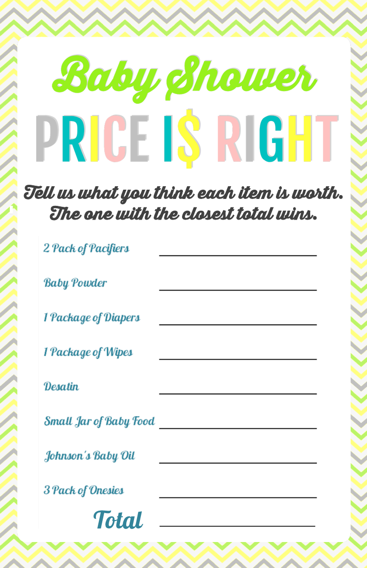Printable Baby Shower Games - Price Is Right And Bingo   Baby Shower - Free Printable Templates For Baby Shower Games