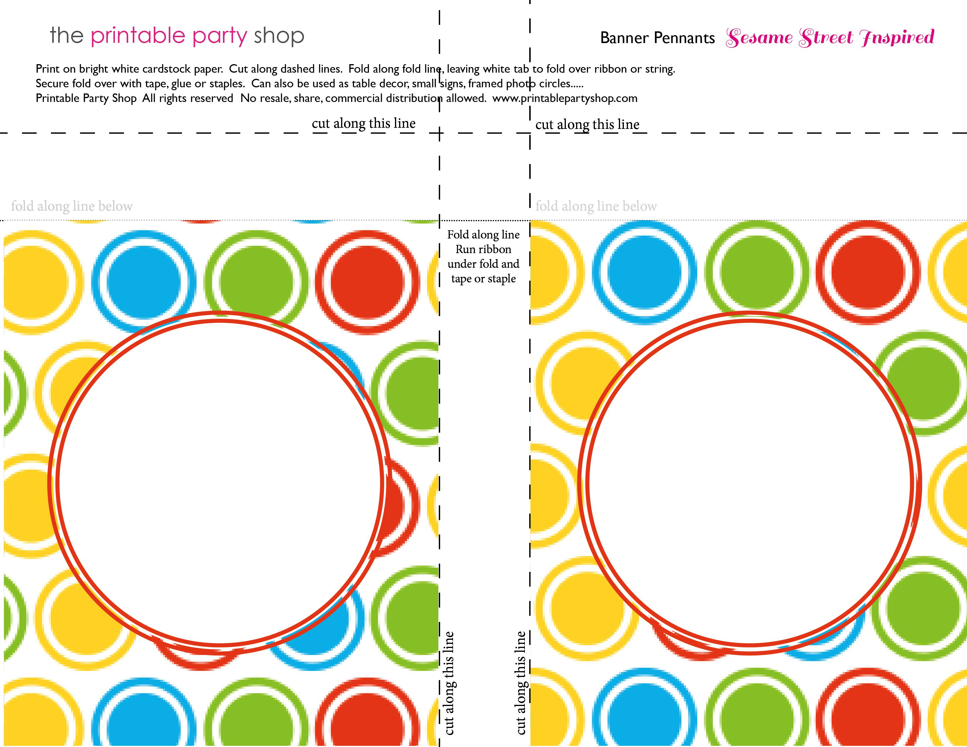 Printable Banners Templates Free | Banner-Squares-Big-Dots-Sesame - Birthday Banner Templates Free Printable