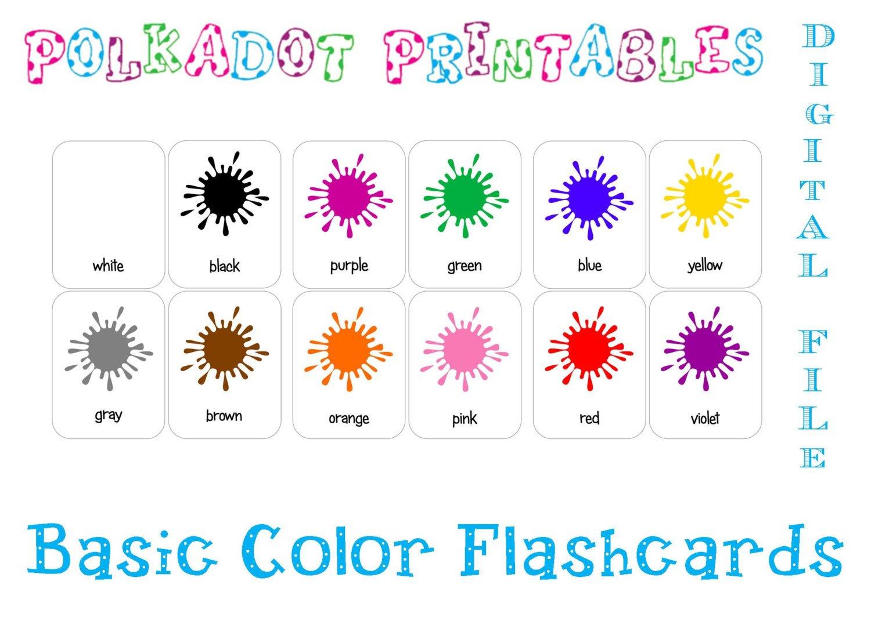 Printable Basic Color Paint Splash Flashcards Set Of 12   Etsy - Free Printable Colour Flashcards