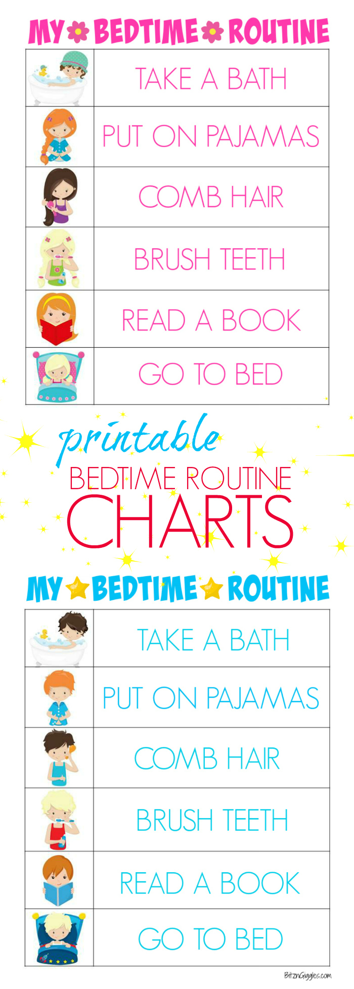Printable Bedtime Routine Charts - Bitz & Giggles - Free Printable Bedtime Routine Chart