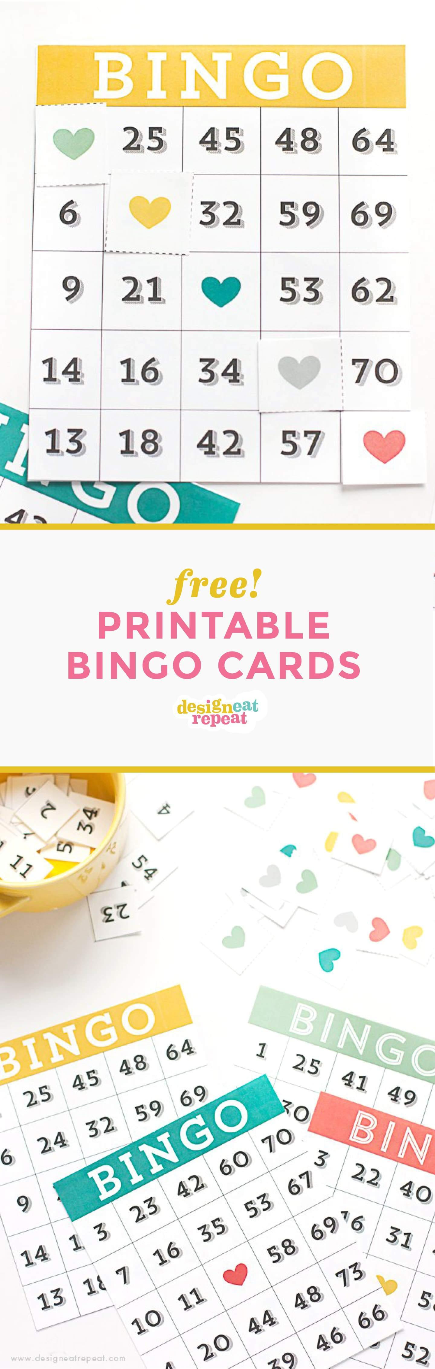Printable Bingo Cards - Game Night Idea! - Design Eat Repeat - Free Printable Bingo Cards Random Numbers