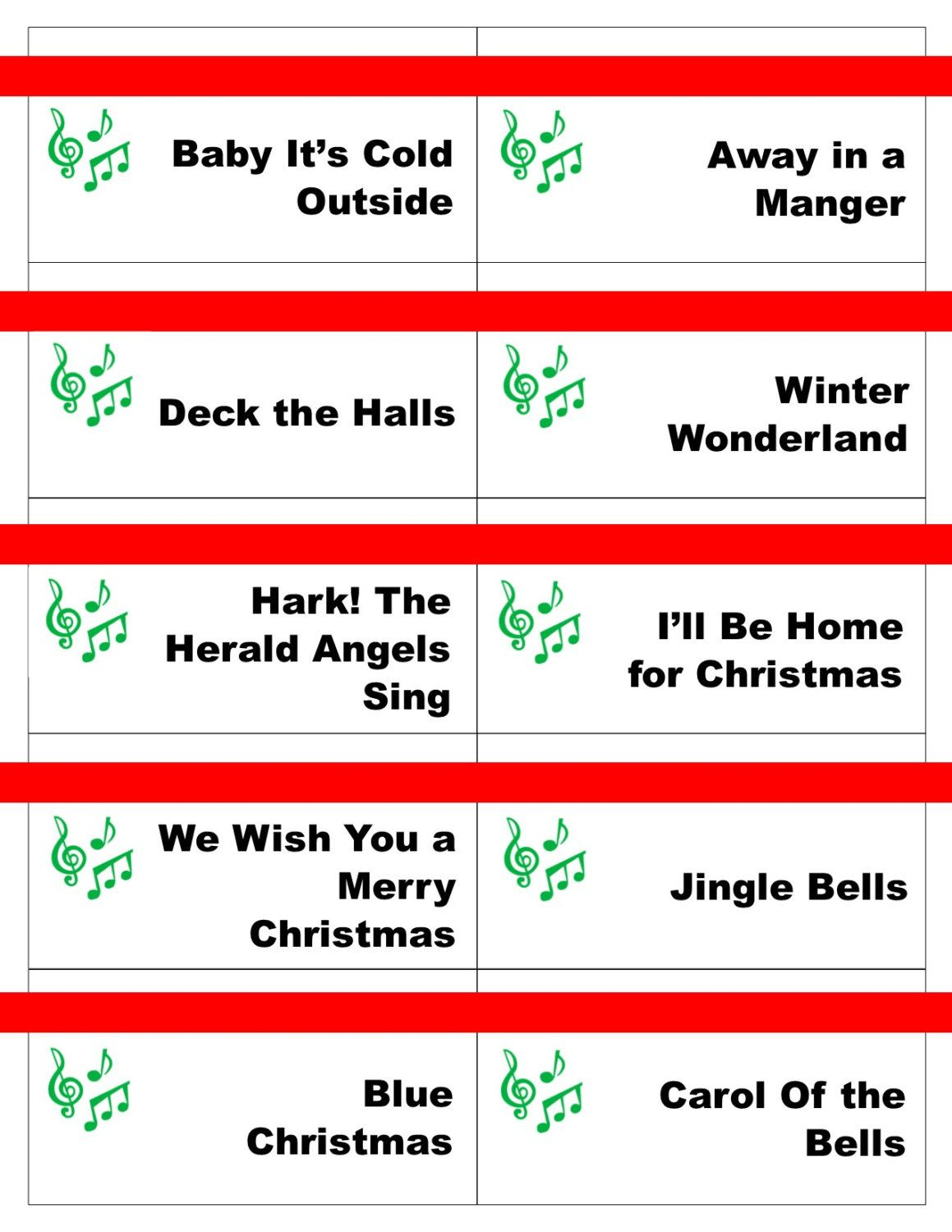 Printable Christmas Carol Game Cards For Pictionary Or - Free Printable Christmas Pictionary Words
