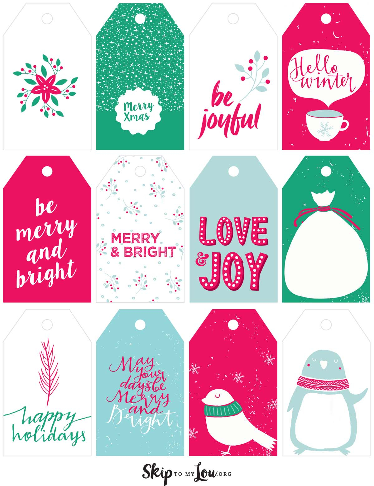 Printable Christmas Gift Tags | Skip To My Lou - Free Printable Christmas Tags