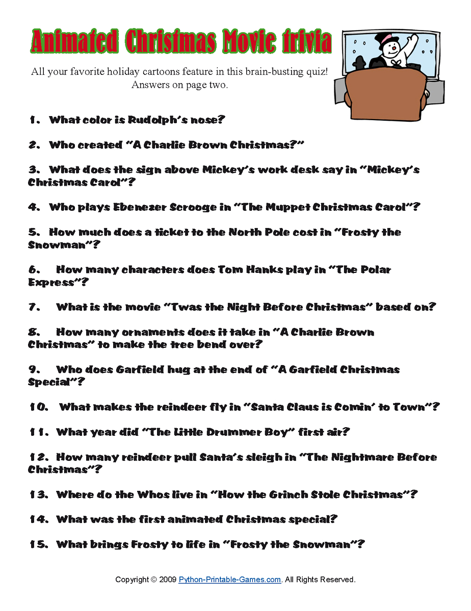 Printable Christmas Trivia Questions Answers |  Quiz For Kids - Free Christmas Picture Quiz Questions And Answers Printable