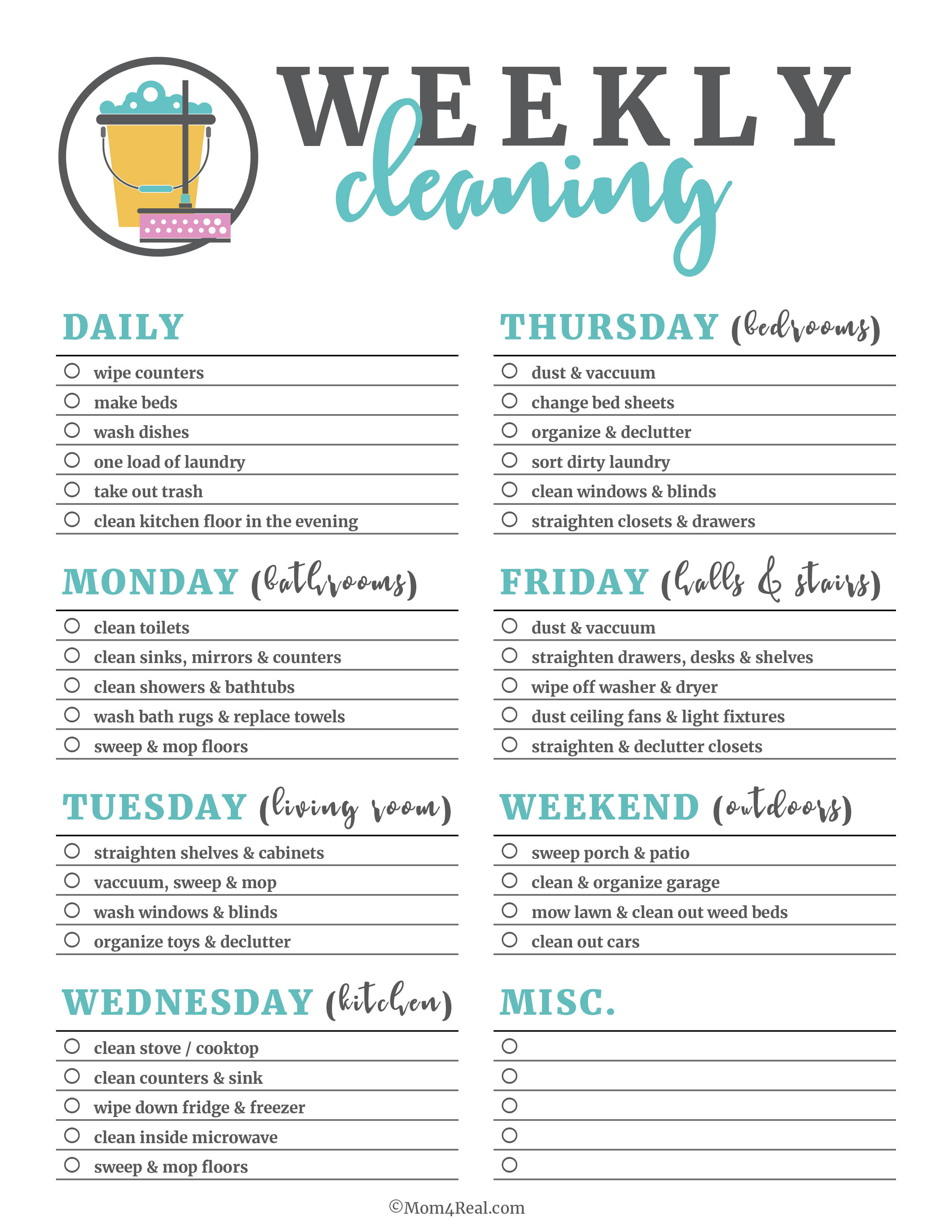 Printable Cleaning Checklists For Daily, Weekly And Monthly Cleaning - Free Printable House Cleaning Checklist