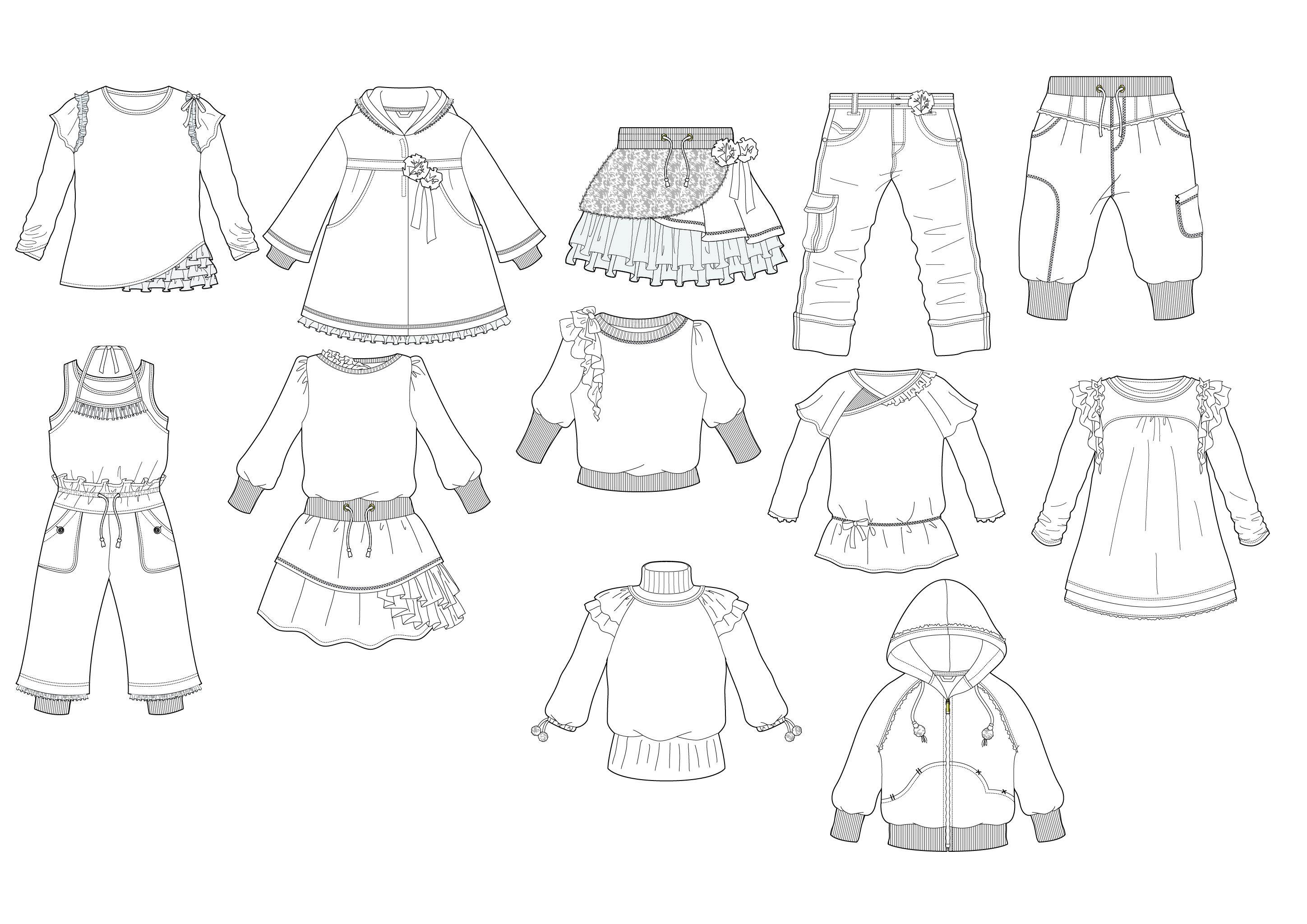 Printable Clothes Templates For Kids   Fashion Design Flat Sketches - Free Printable Fashion Model Templates