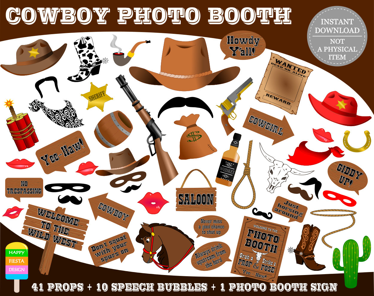 Printable Cowboy Photo Booth Propsphoto Booth Sign-Wild West | Etsy - Free Printable Western Photo Props
