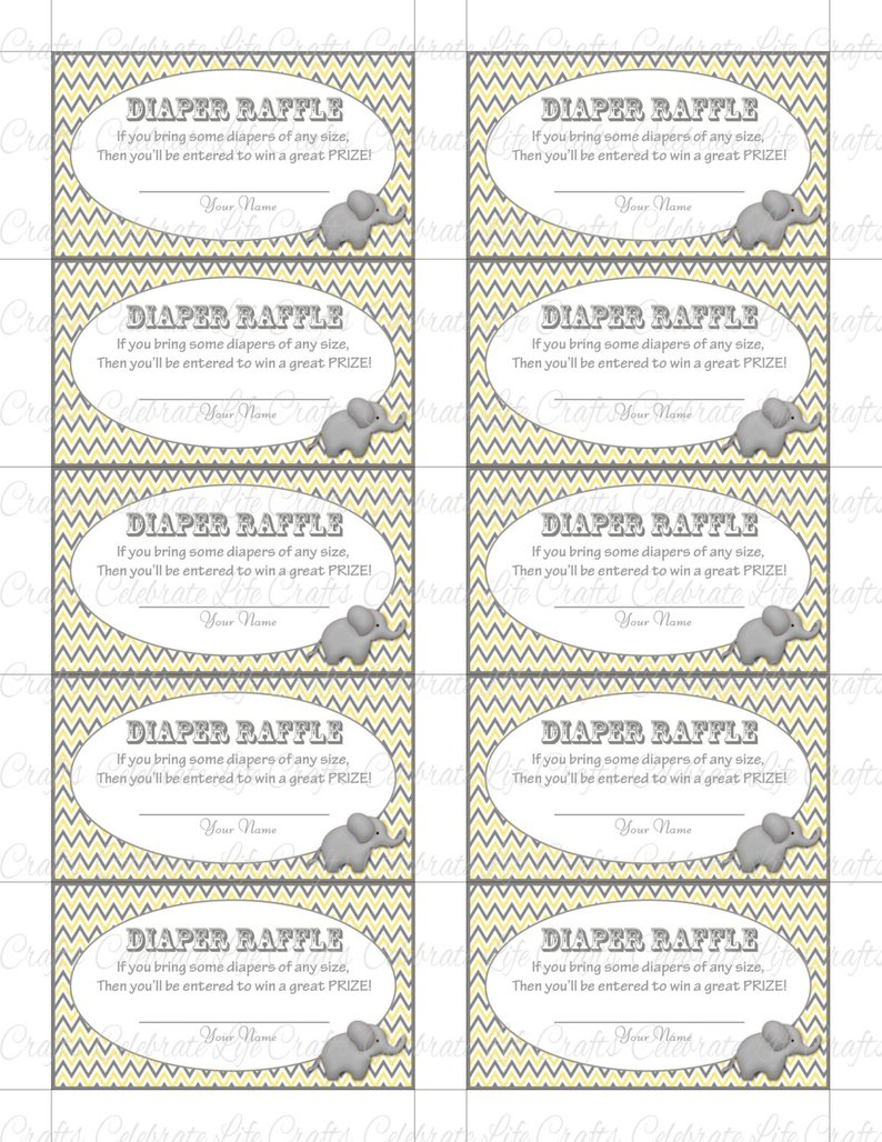Printable Diaper Raffle Tickets Baby Shower Instant Download | Etsy - Free Printable Diaper Raffle Tickets Elephant