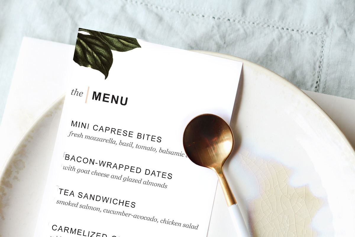 Printable Dinner Party Menu Template - Design. Create. Cultivate. - Free Printable Dinner Party Menu Template
