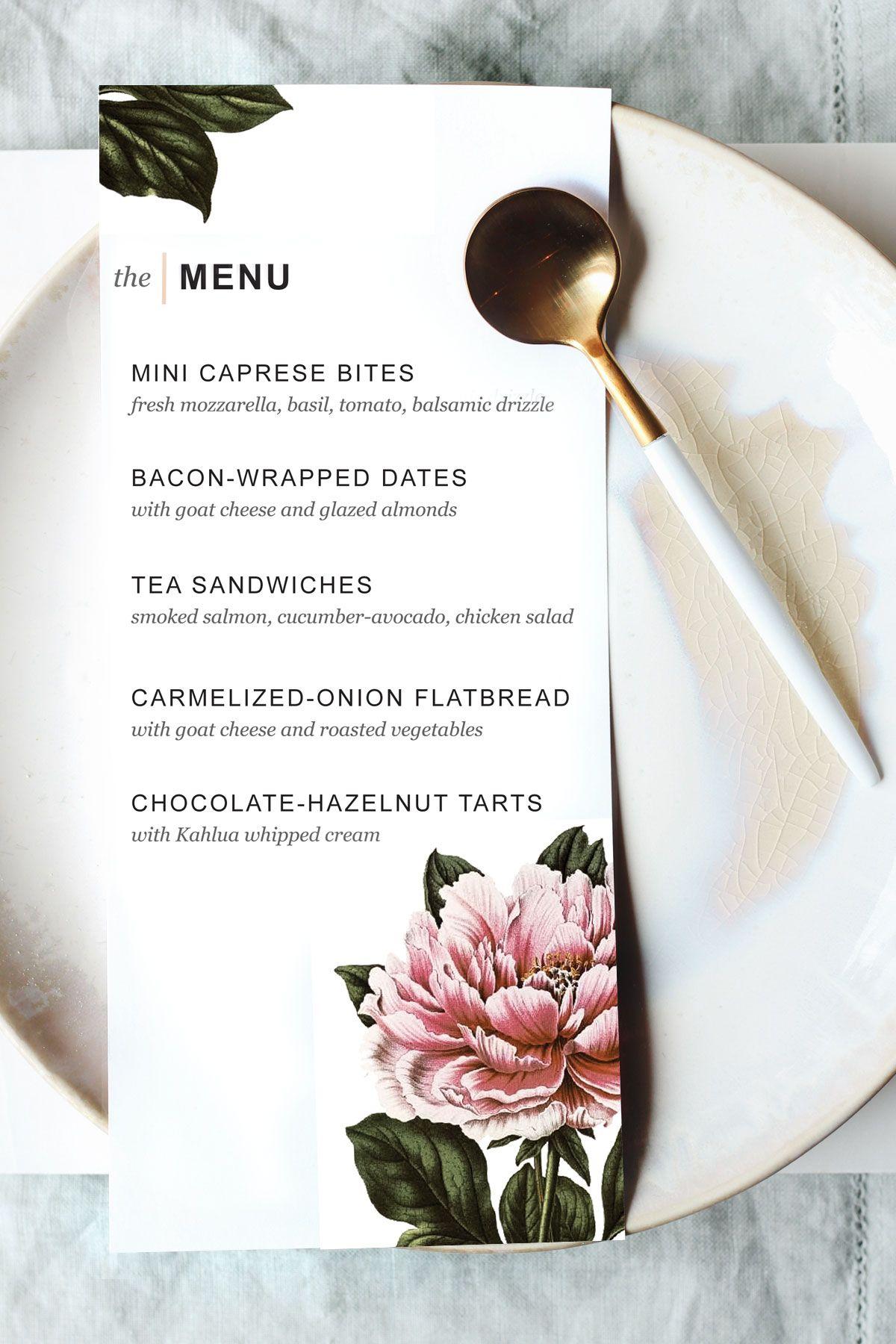 Printable Dinner Party Menu Template   Party Planning   Pinterest - Free Printable Wedding Menu Card Templates