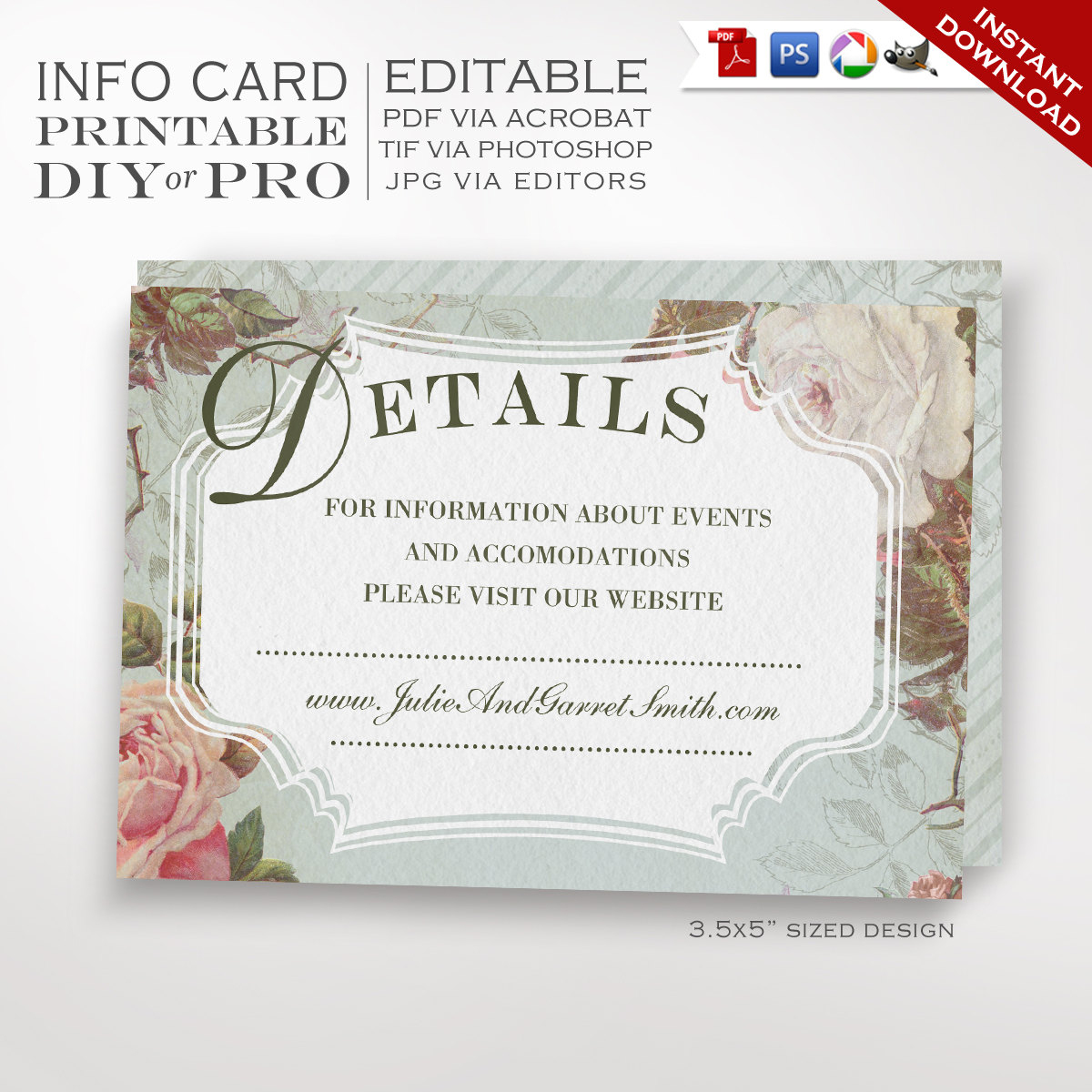 Printable Diy French Country Wedding Website Card Template - Free Printable Enclosure Cards