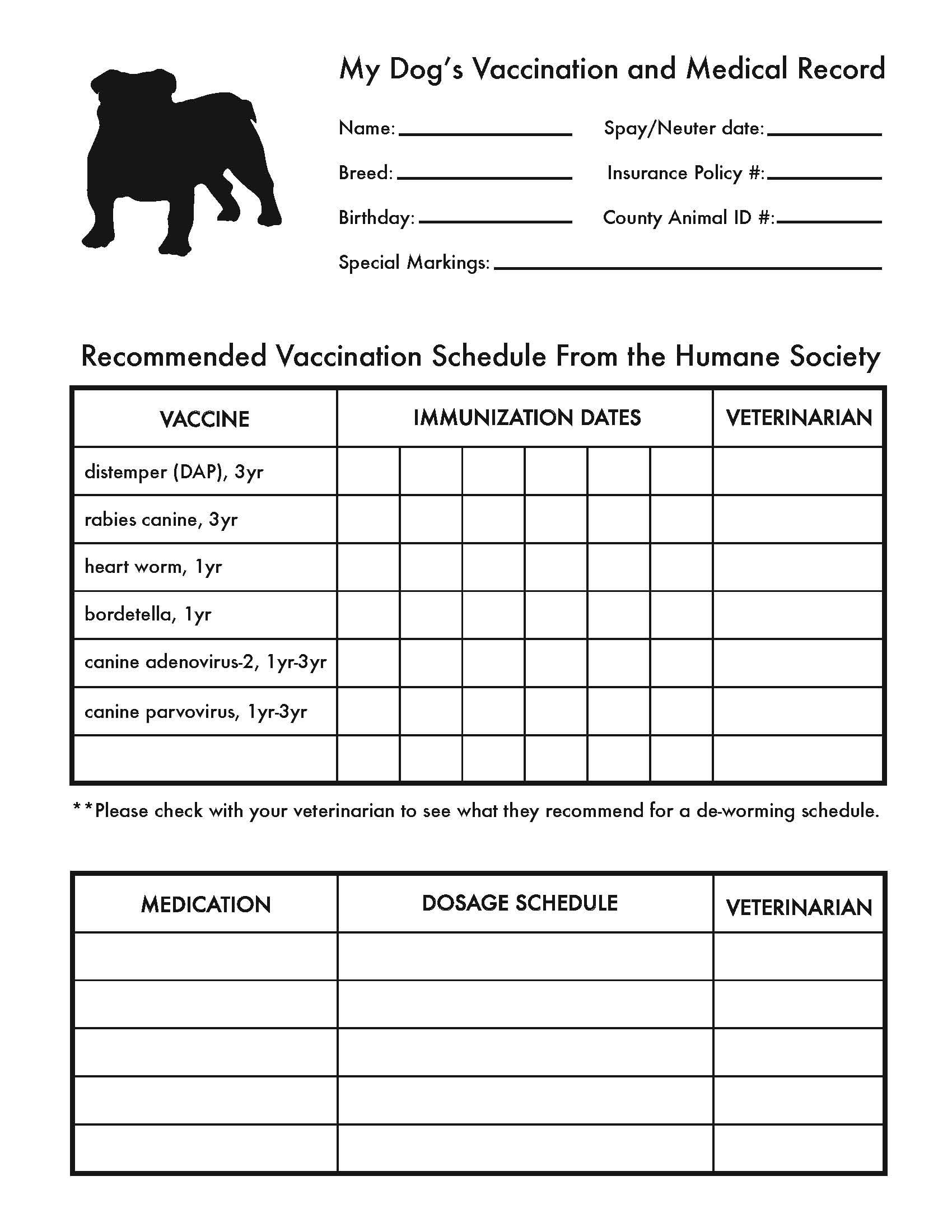 Printable Dog Shot Record Forms | Dog Shot Record | Dog Shots, Dog - Free Printable Pet Health Record