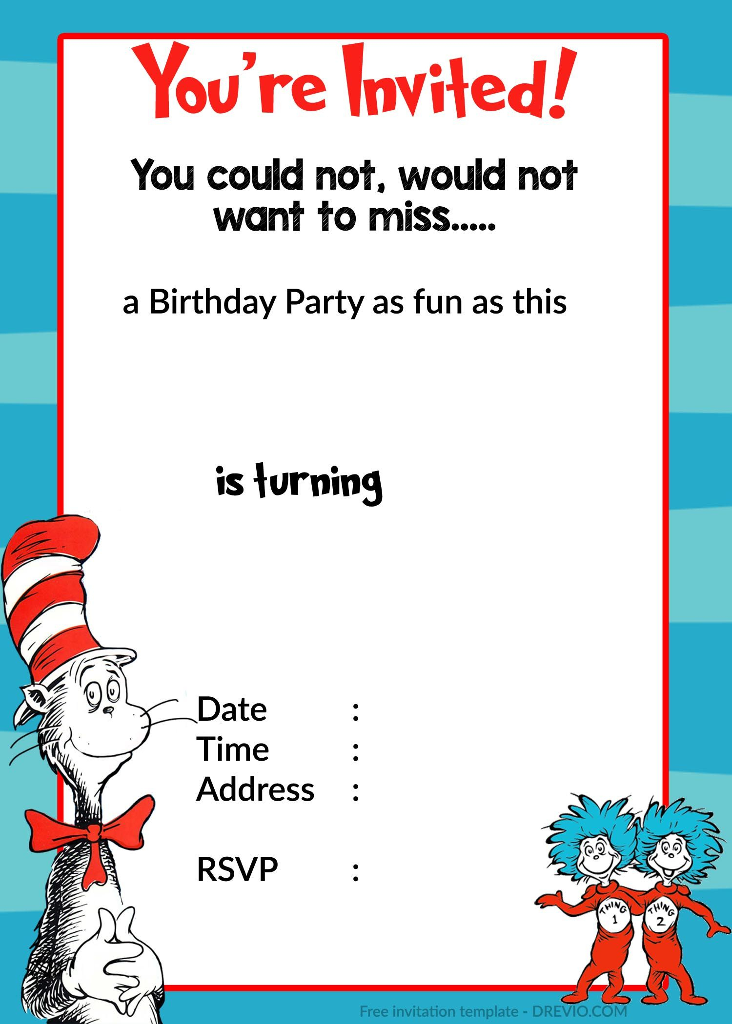 Printable Dr. Seuss Birthday | Birthday Invitation For Kids | Dr - Doctor Who Party Invitations Printable Free