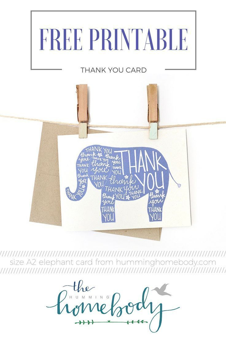 Printable Elephant Thank You Card   Printables   The Best Downloads - Free Printable Baby Registry Cards