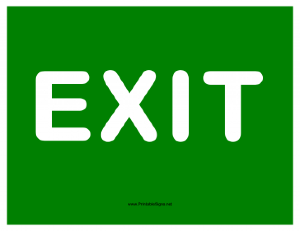 Printable Exit White On Green Sign Intended For Free Printable Exit - Free Printable Exit Signs