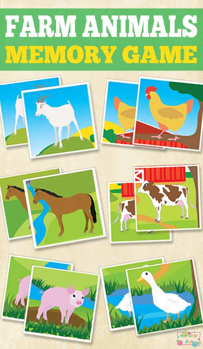 Printable Farm Animals Memory Game - Itsy Bitsy Fun - Free Printable Farm Animals