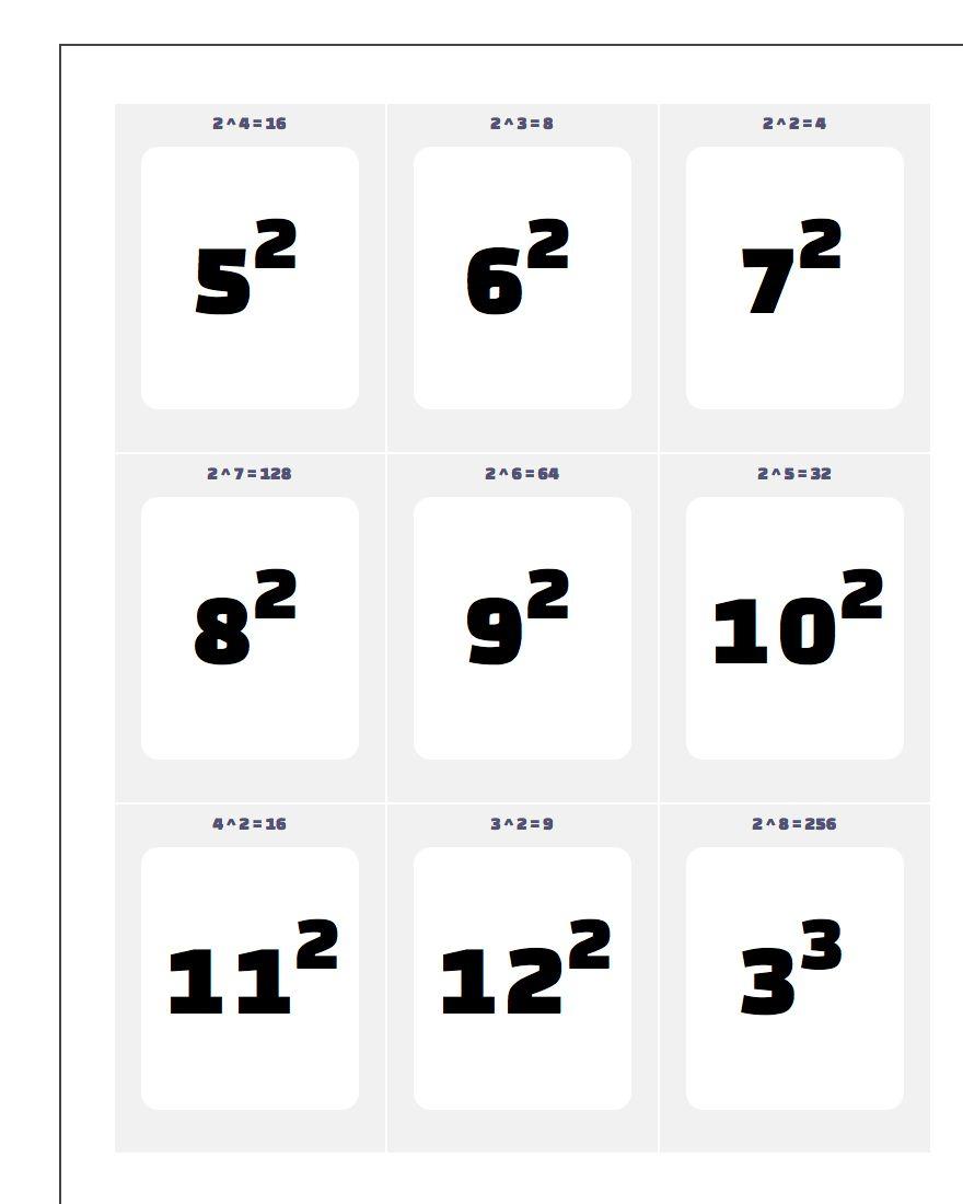Printable Flash Cards - Free Printable Multiplication Flash Cards