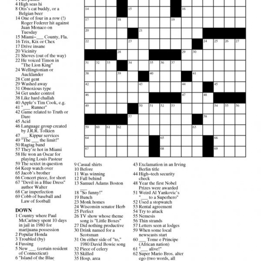 Printable Free Crosswords & Free Printable Crossword Puzzles Sc 1 - Free Daily Printable Crossword Puzzles