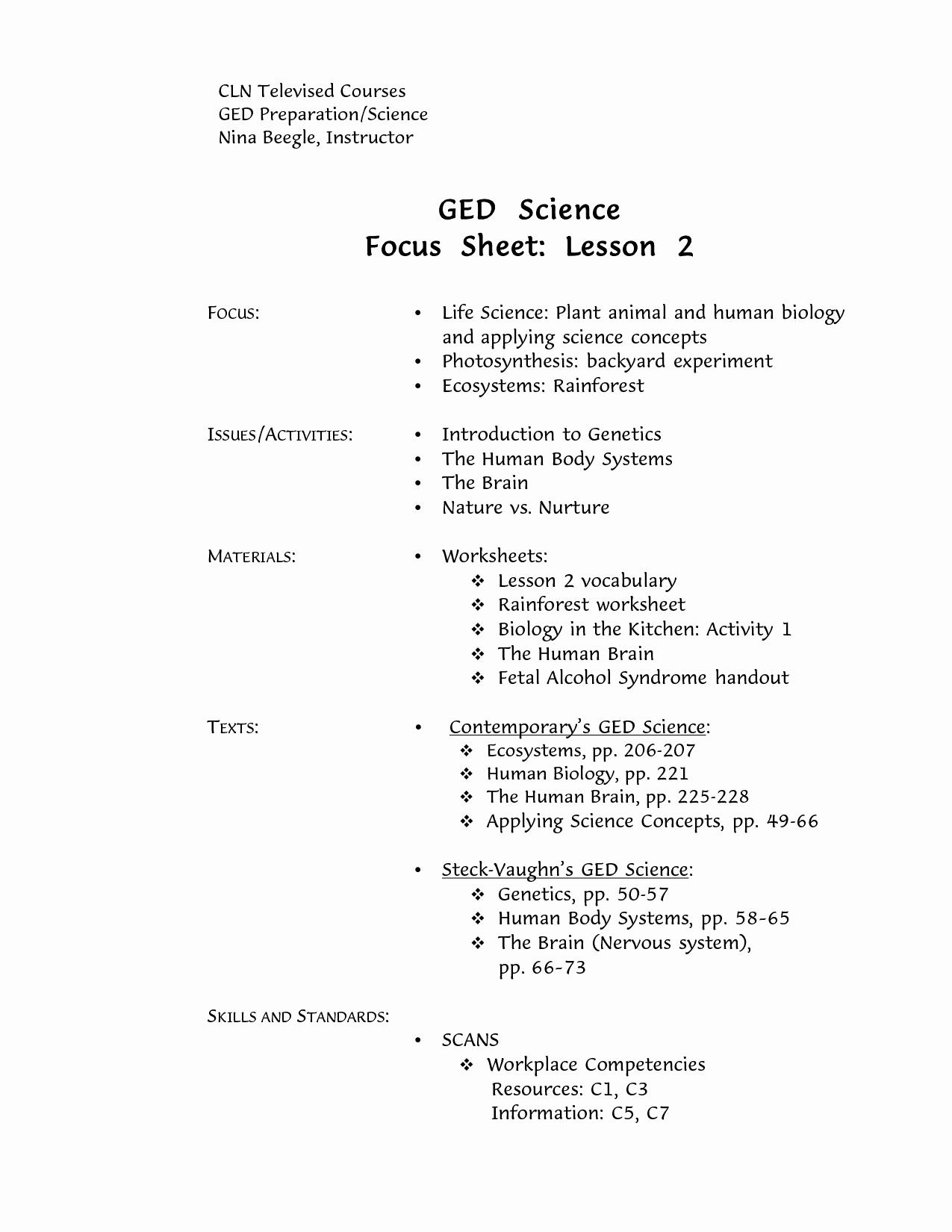 Printable Ged Practice Worksheets Pdf - Happy Living - Free Printable Ged Science Worksheets
