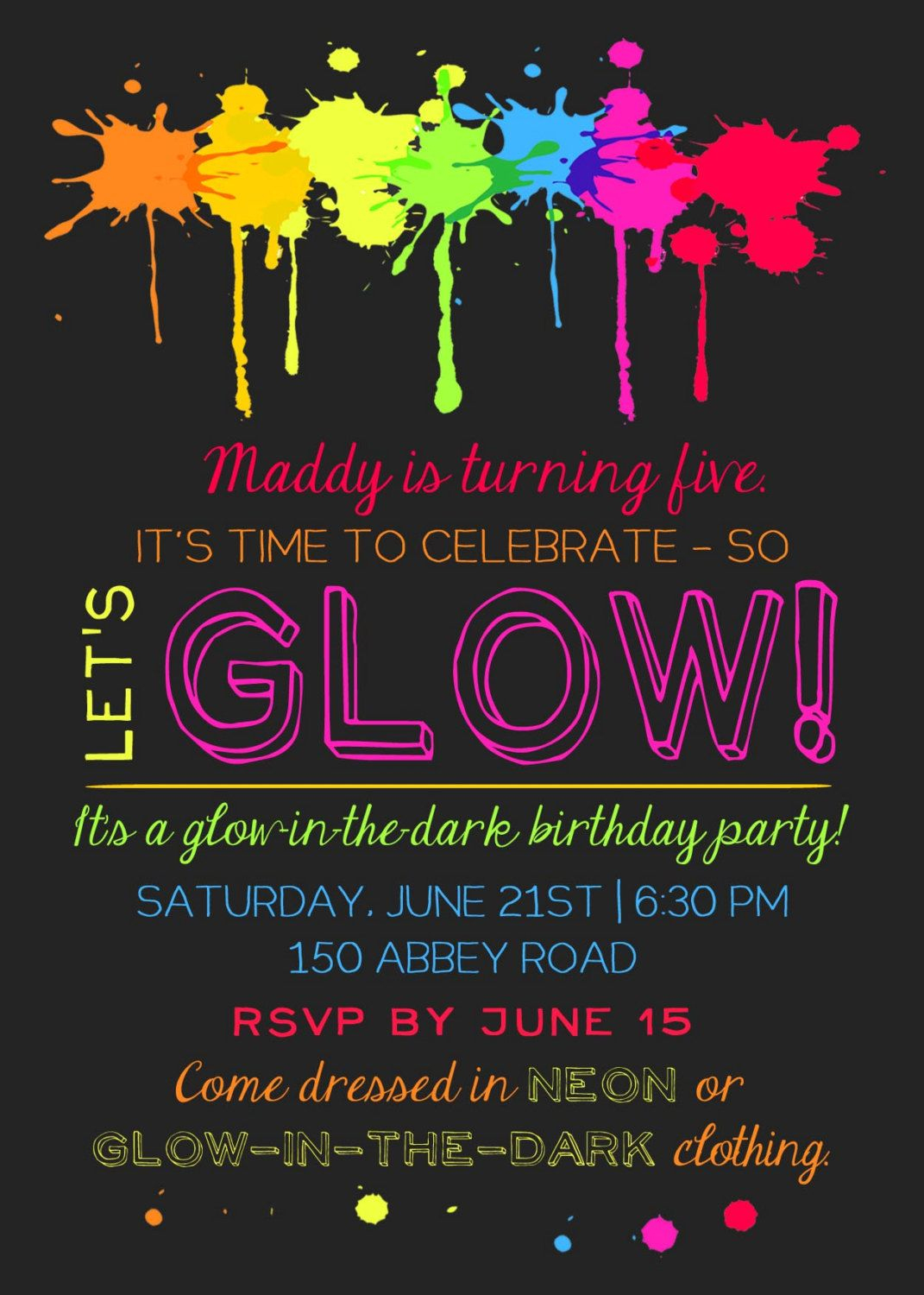 Printable Glow In The Dark Theme Party Invitation - Free Printable Glow In The Dark Birthday Party Invitations