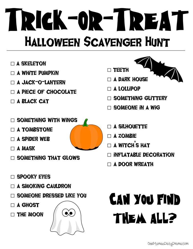 Printable Halloween Scavenger Hunt | The Dramatics | Halloween - Free Printable Halloween Scavenger Hunt