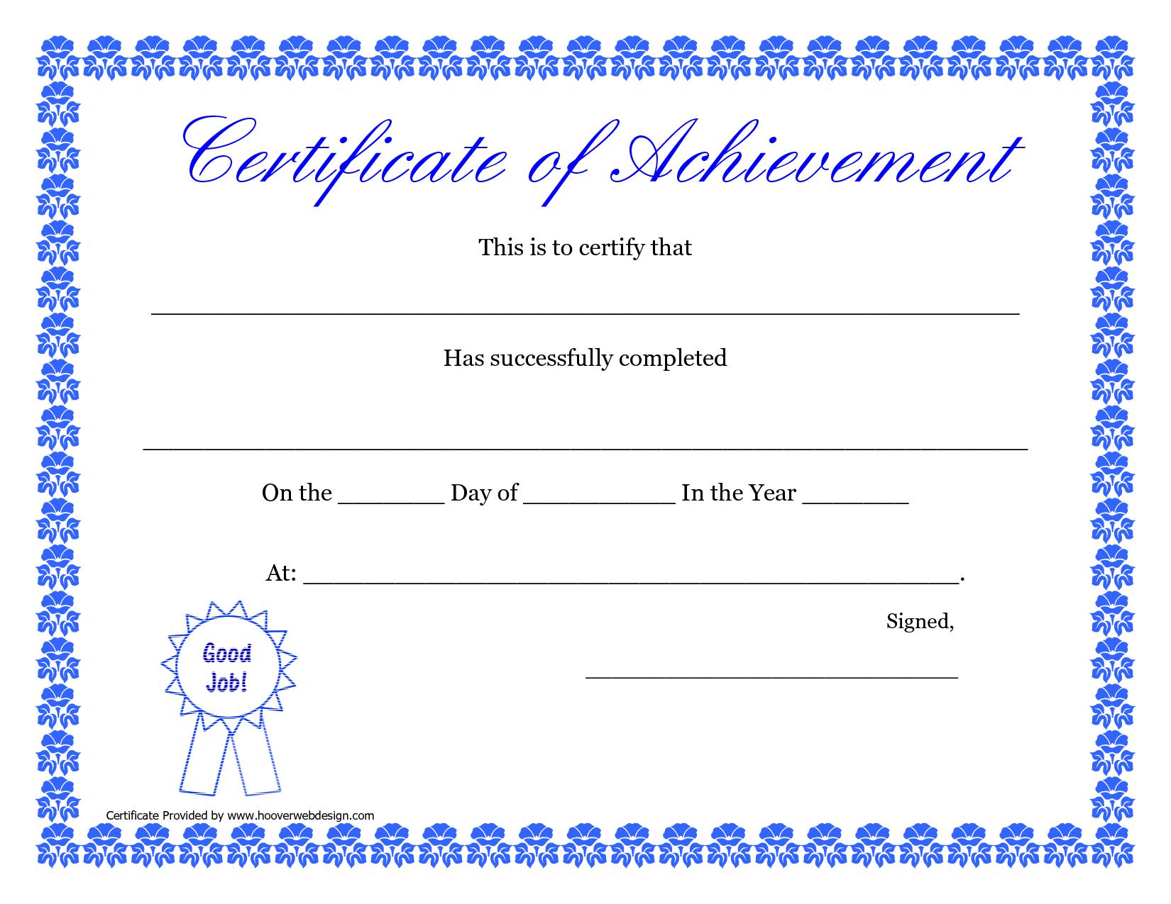 Printable Hard Work Certificates Kids | Printable Certificate Of - Free Printable Blank Certificates Of Achievement