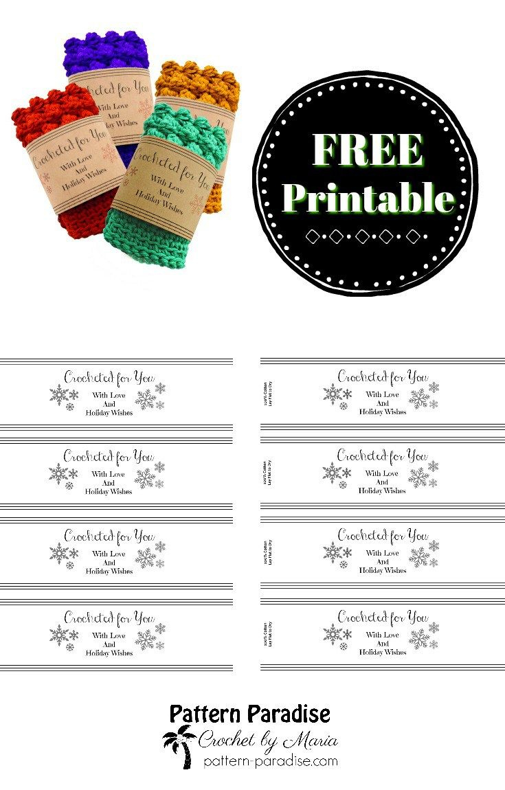 Printable: Holiday Crocheted For You Template   Dishcloth - Free Printable Dishcloth Wrappers