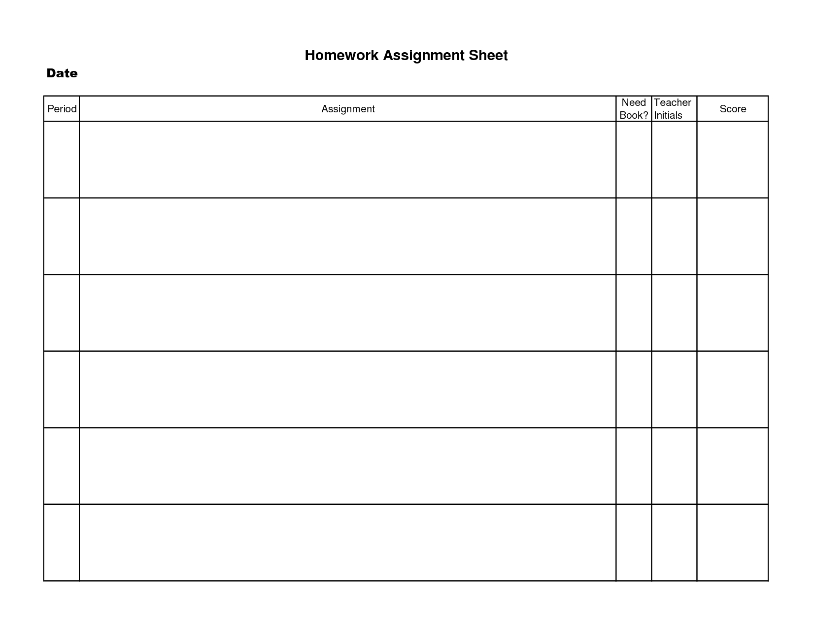 Printable Homework Assignment Sheet Template | Decrease Depression - Free Printable Homework Assignment Sheets