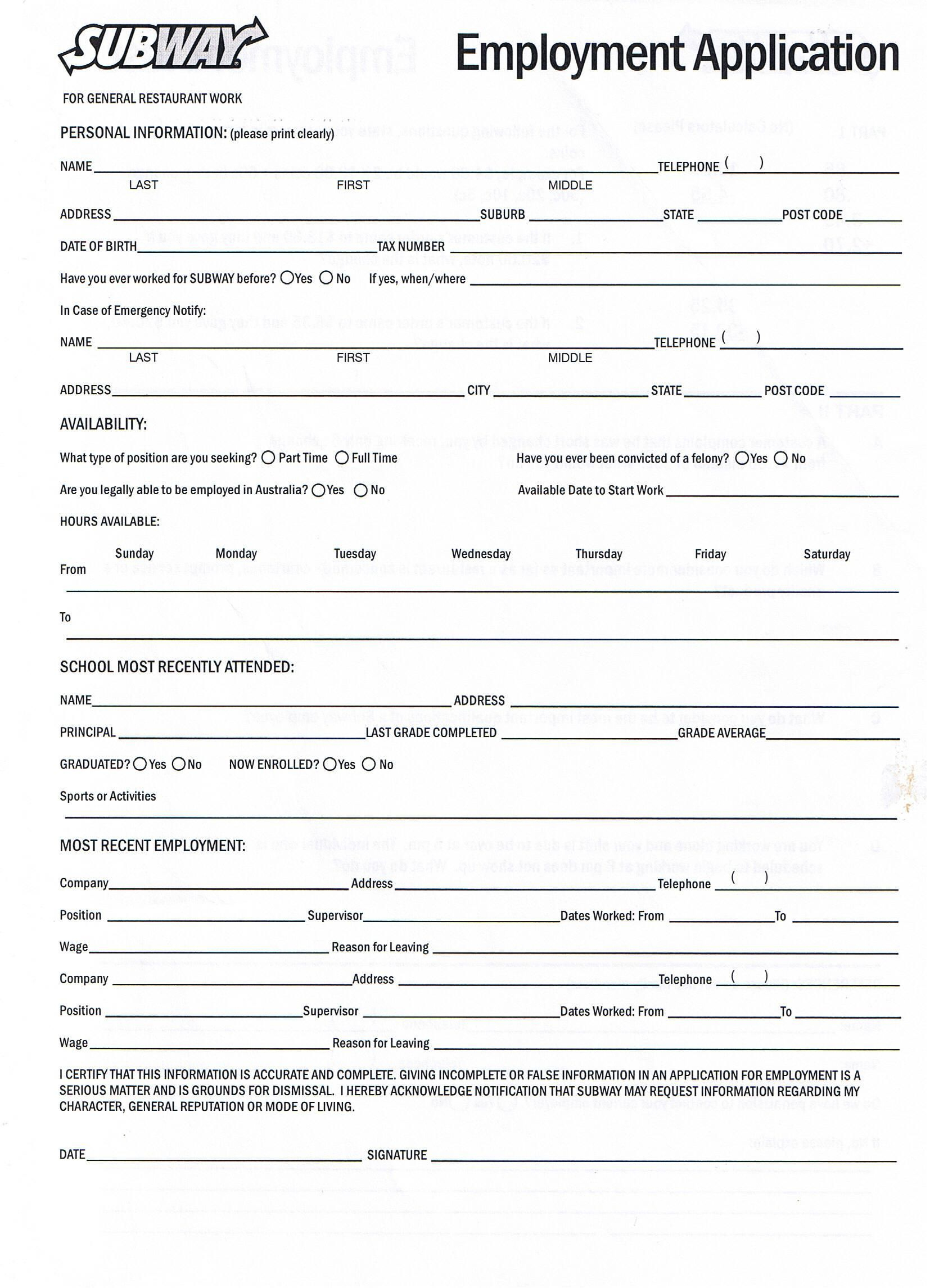 Printable Job Application Forms Online Forms, Download And Print - Application For Employment Form Free Printable
