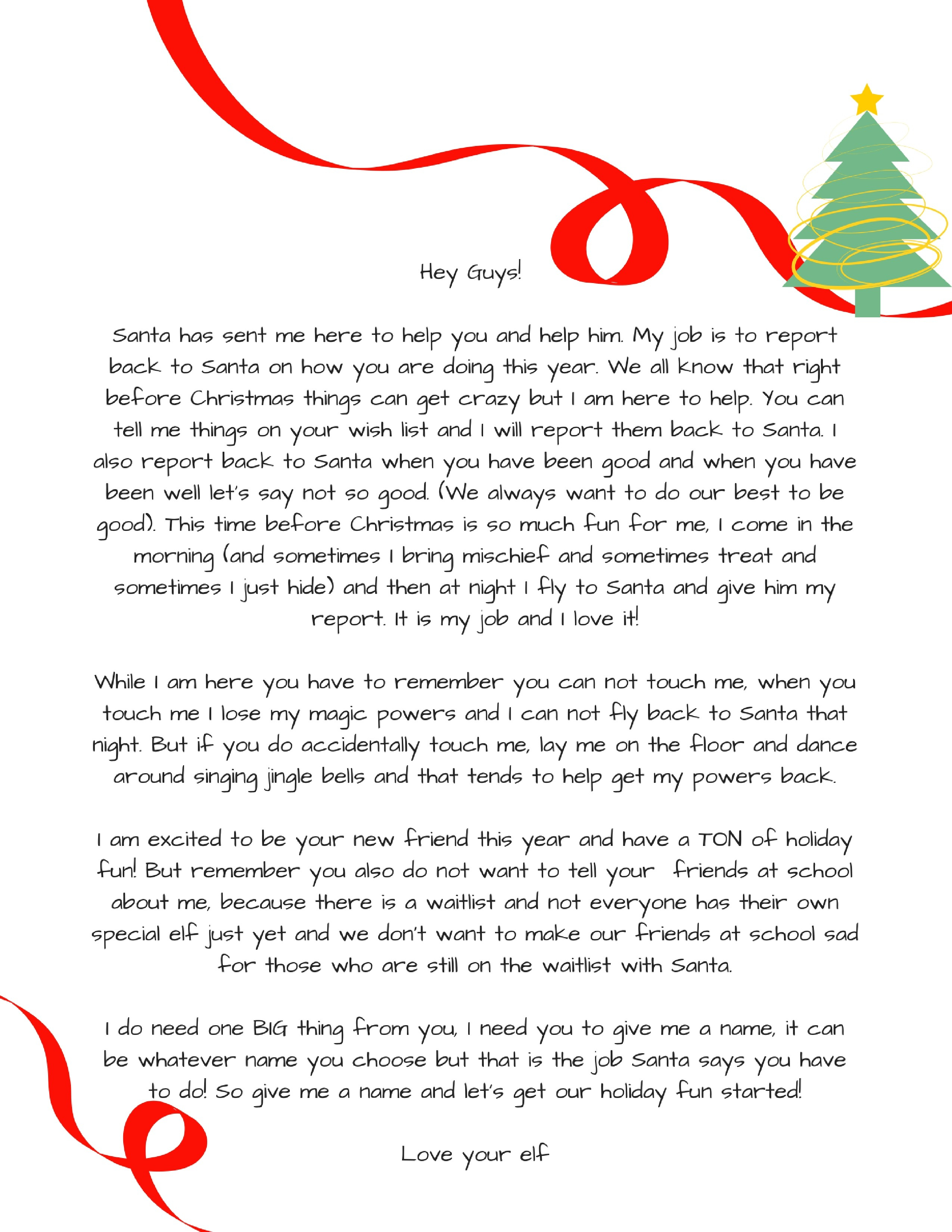 Printable Letter From Santa About Elf On The Shelf Refrence Elf On - Free Printable Elf On Shelf Arrival Letter