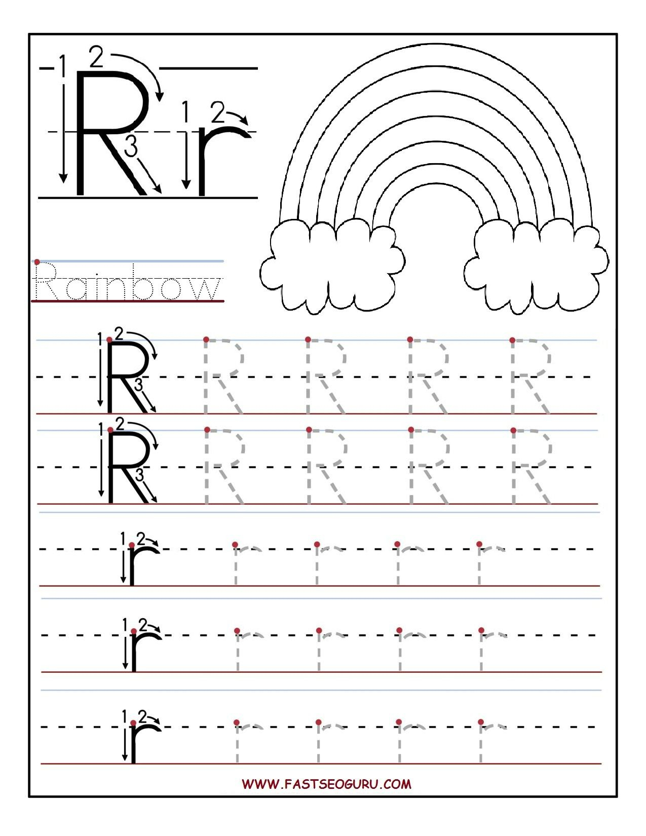Printable Letter R Tracing Worksheets For Preschool | Teacher - Free Printable Preschool Worksheets For The Letter R