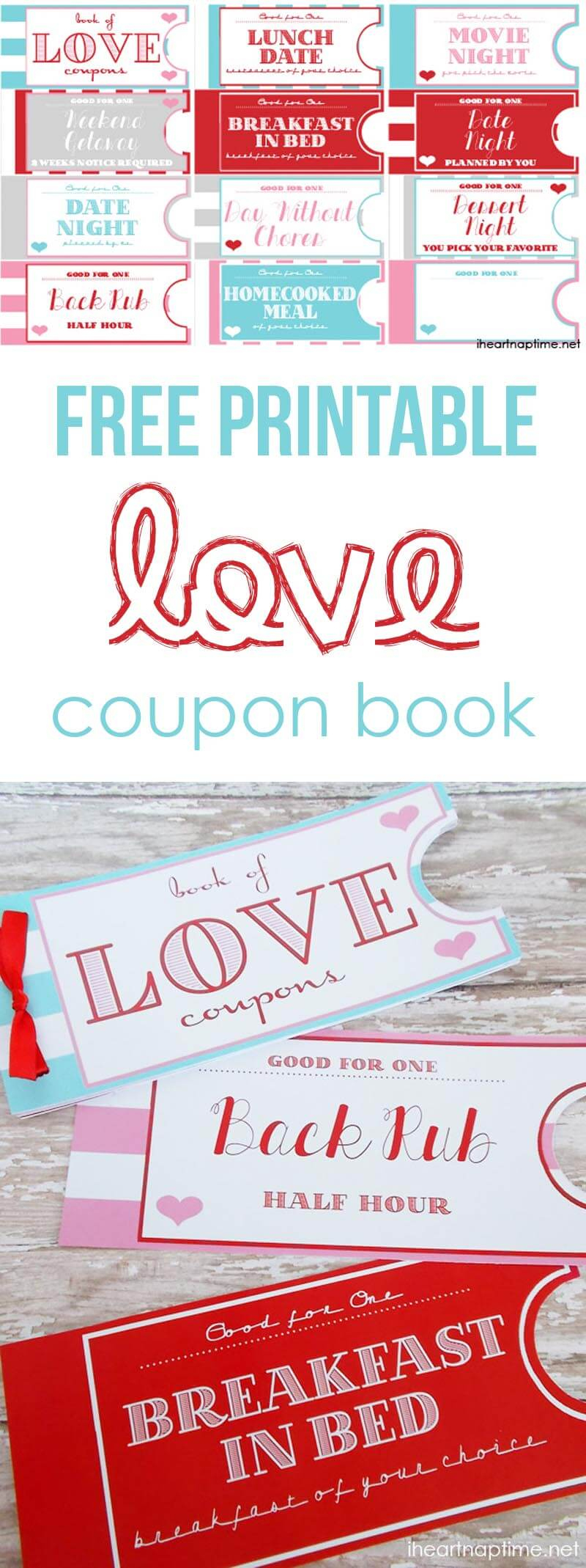 Printable Love Coupon Book -The Perfect Valentine's Day Gift! - Free Printable Coupon Book For Boyfriend