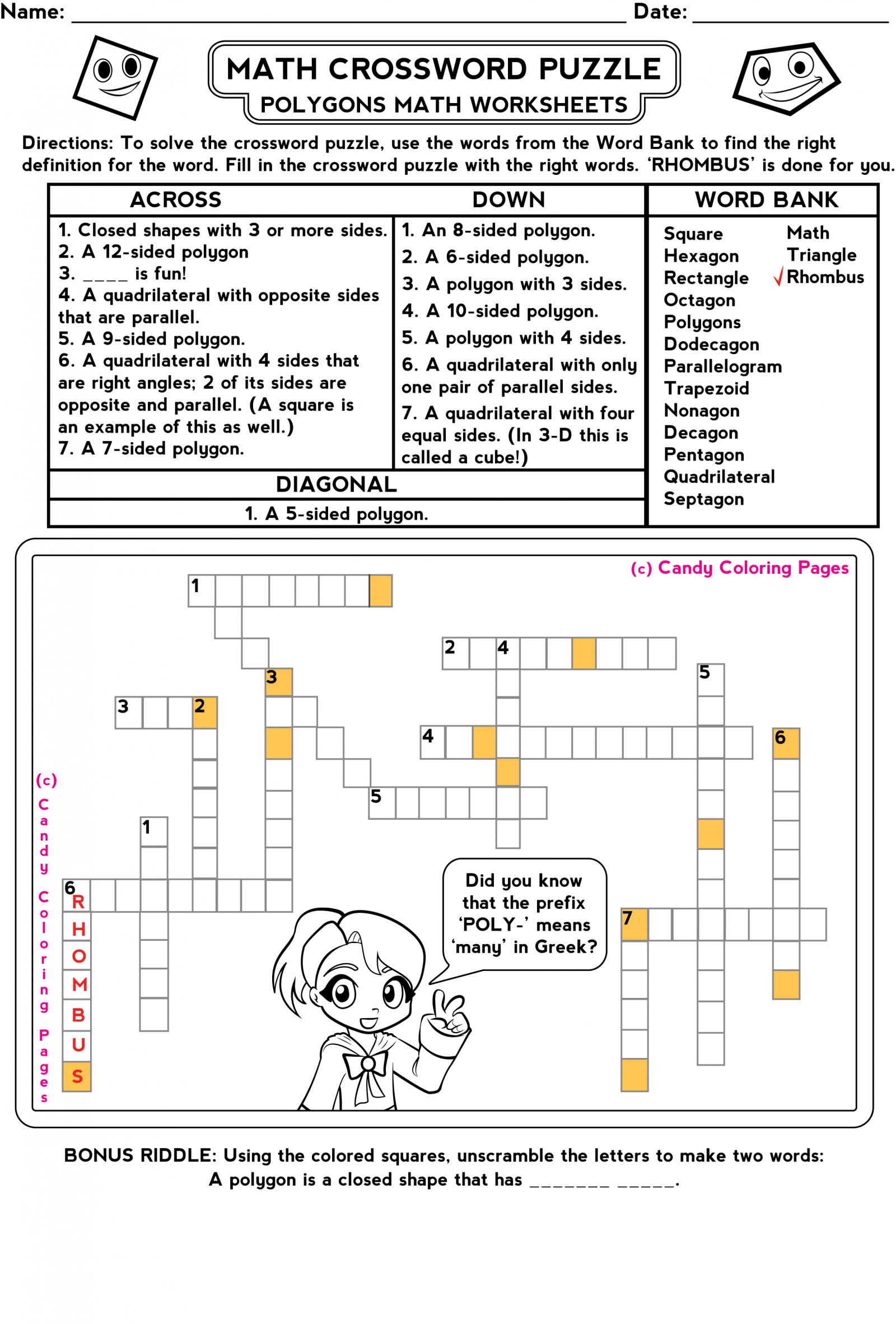 Printable Math Riddles For 3Rd Grade | Download Them Or Print - Free Printable Math Puzzles