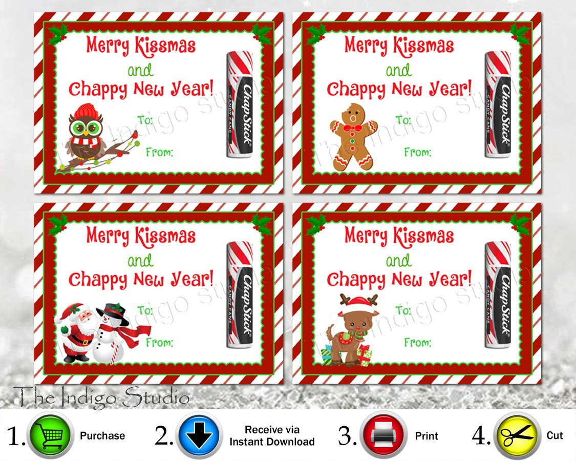 Printable Merry Kissmas And Chappy New Year 4 Different Designs Chap - Free Printable Happy New Year Cards