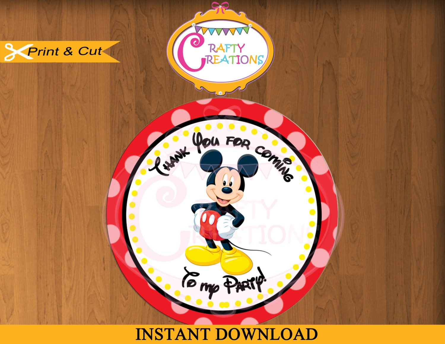 Printable Mickey Mouse Stickers Favor Tag Party Tags Thank   Etsy - Free Printable Mickey Mouse Favor Tags