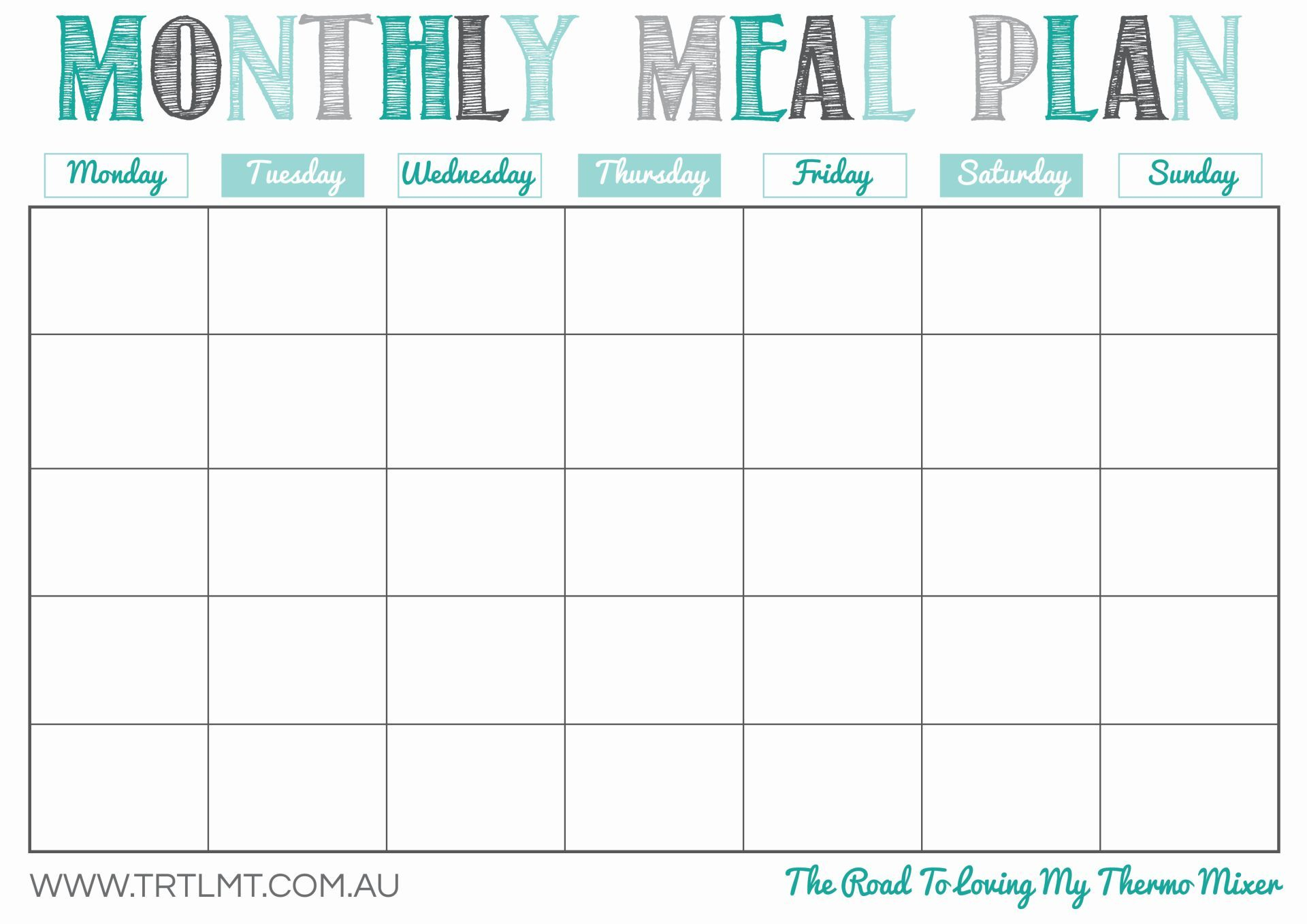 Printable Monthly Meal Planner   Organization In 2019   Meal Planner - Free Printable Monthly Meal Planner