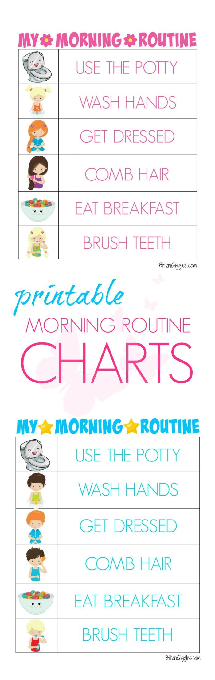 Printable Morning Routine Charts | Montessori - Free Printable Morning Routine Chart