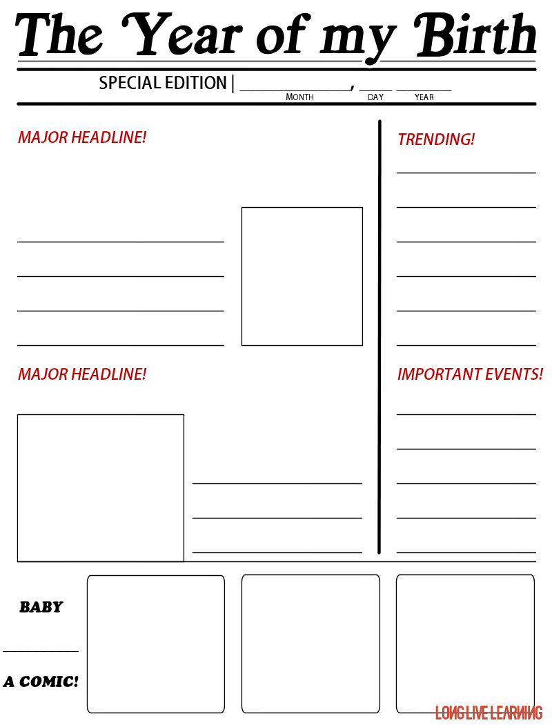 """Printable Newspaper Activity, """"The Year I Was Born"""" – Happy Trails - The Year You Were Born Printable Free"""