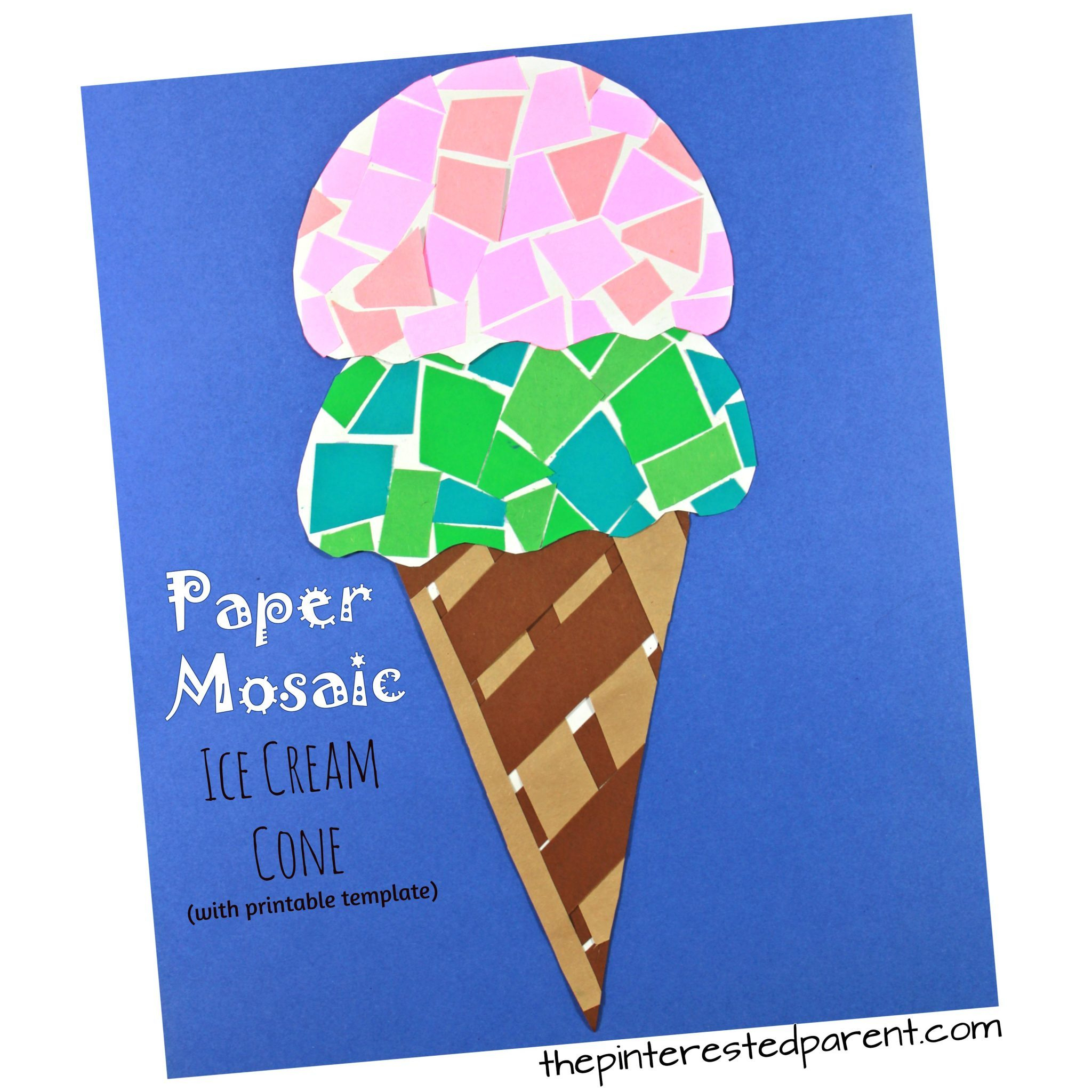 Printable Paper Mosaic Ice Cream Cone – The Pinterested Parent - Ice Cream Cone Template Free Printable