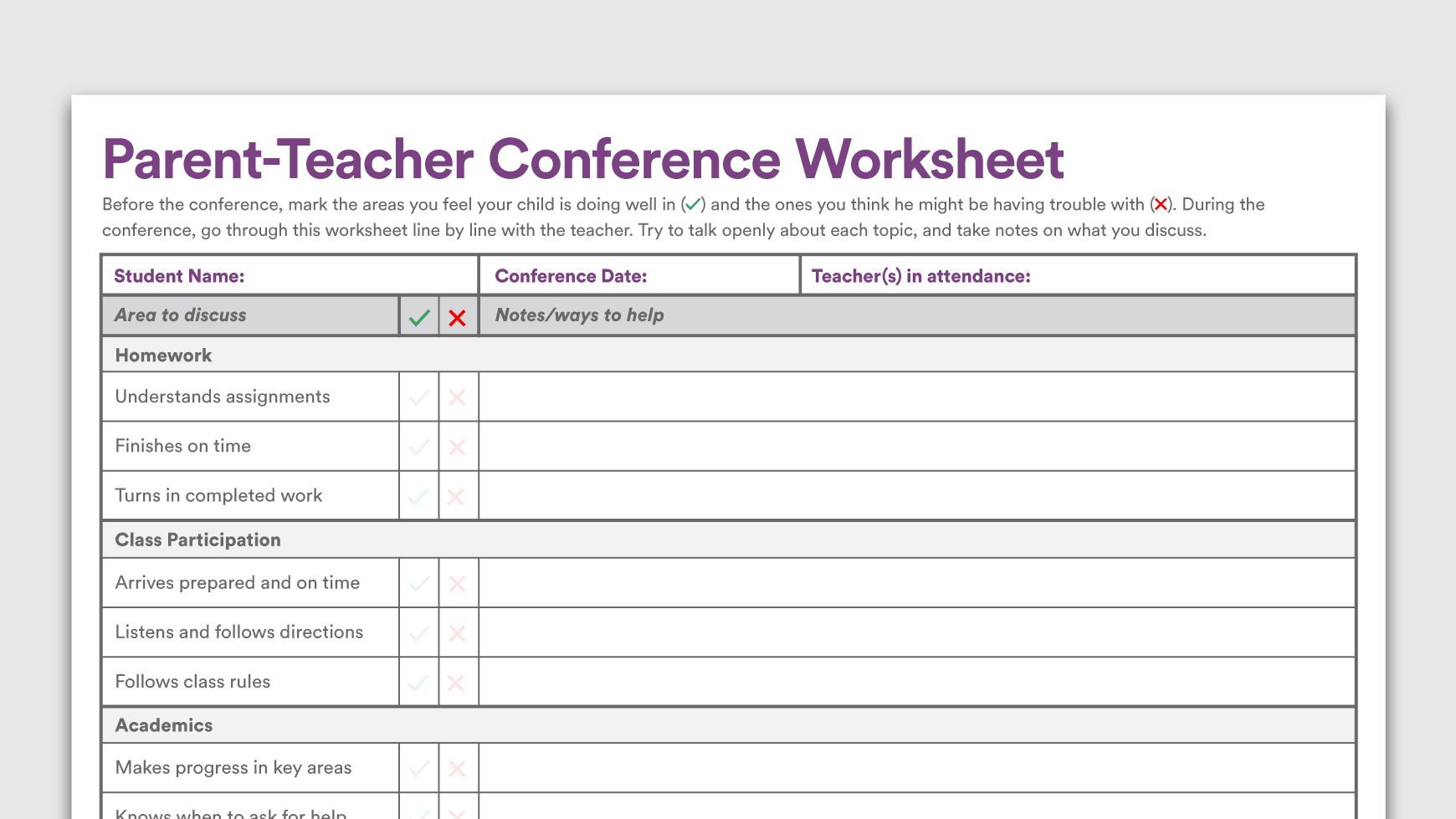Printable Parent-Teacher Conference Worksheet - Free Printable Parent Information Sheet